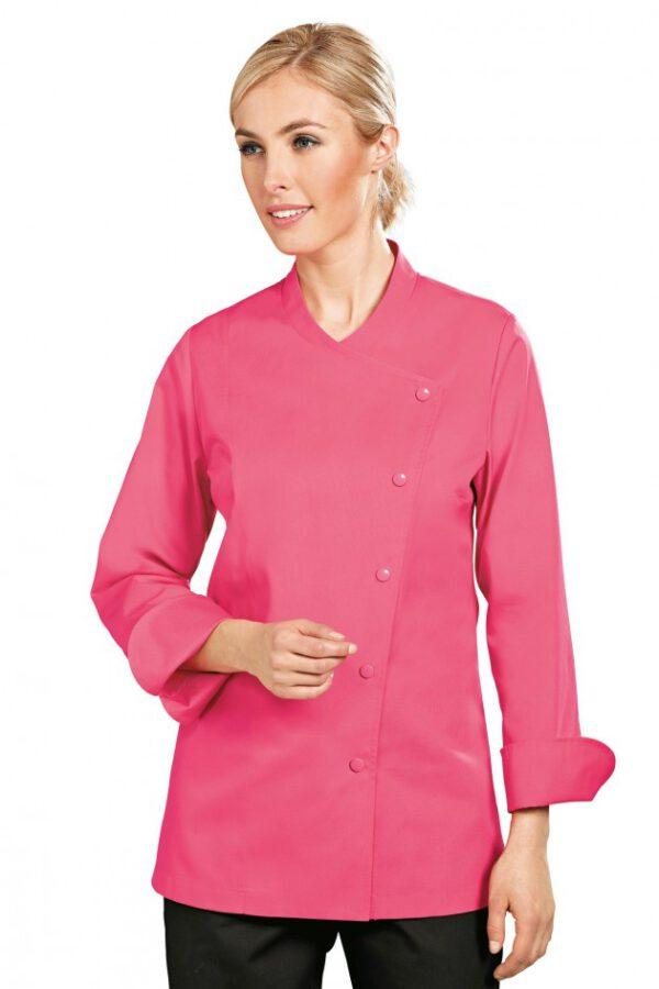 Een mooi getailleerd koksjas dames in het roze.